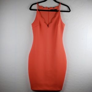 GUESS Hot Coral Scalloped Salinas Bodycon Dress